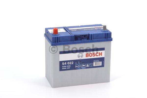 BOSCH Bosch S4 - 12v 45 ah - autó akkumulátor - bal+ *ázsia*vékonysarus