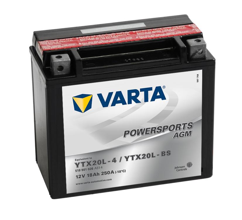 VARTA Varta - 12v 18ah - AGM motor akkumulátor - jobb+ * YTX20L-BS