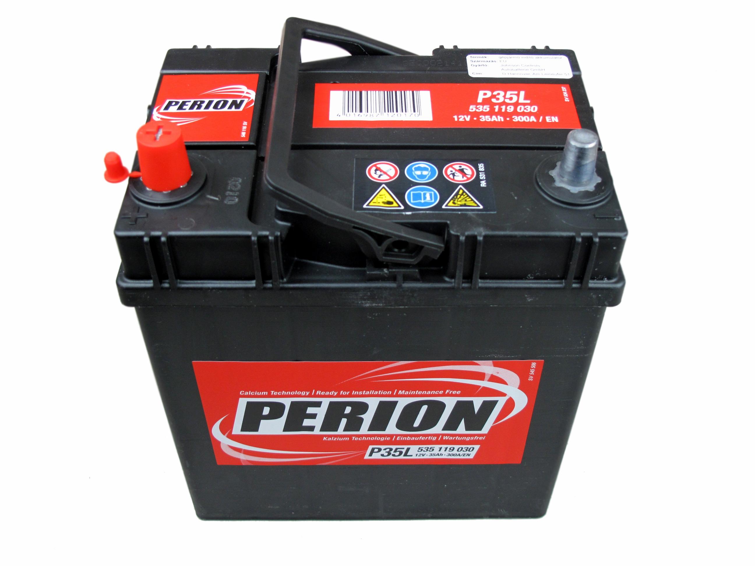 PERION Perion - 12v 35ah - autó akkumulátor - bal+ *ázsia*vékonysarus