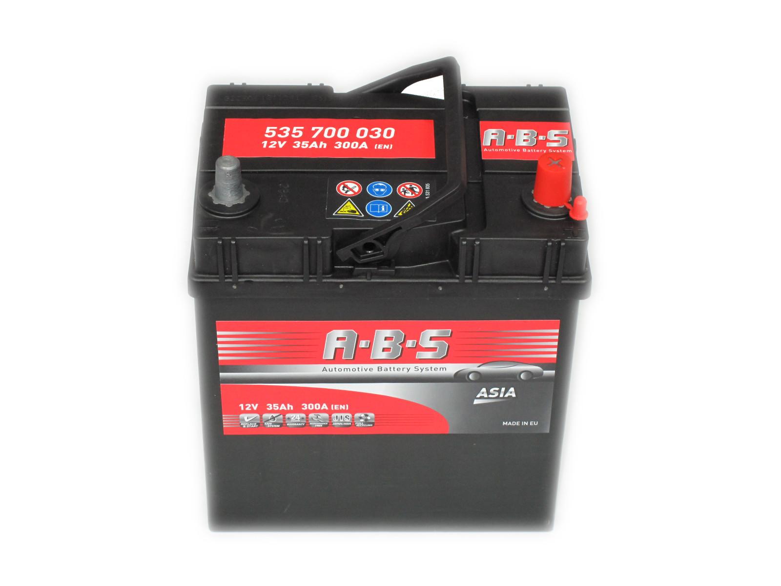 ABS Abs ASIA - 12v 35ah - autó akkumulátor - jobb+ *ázsia*vékonysarus