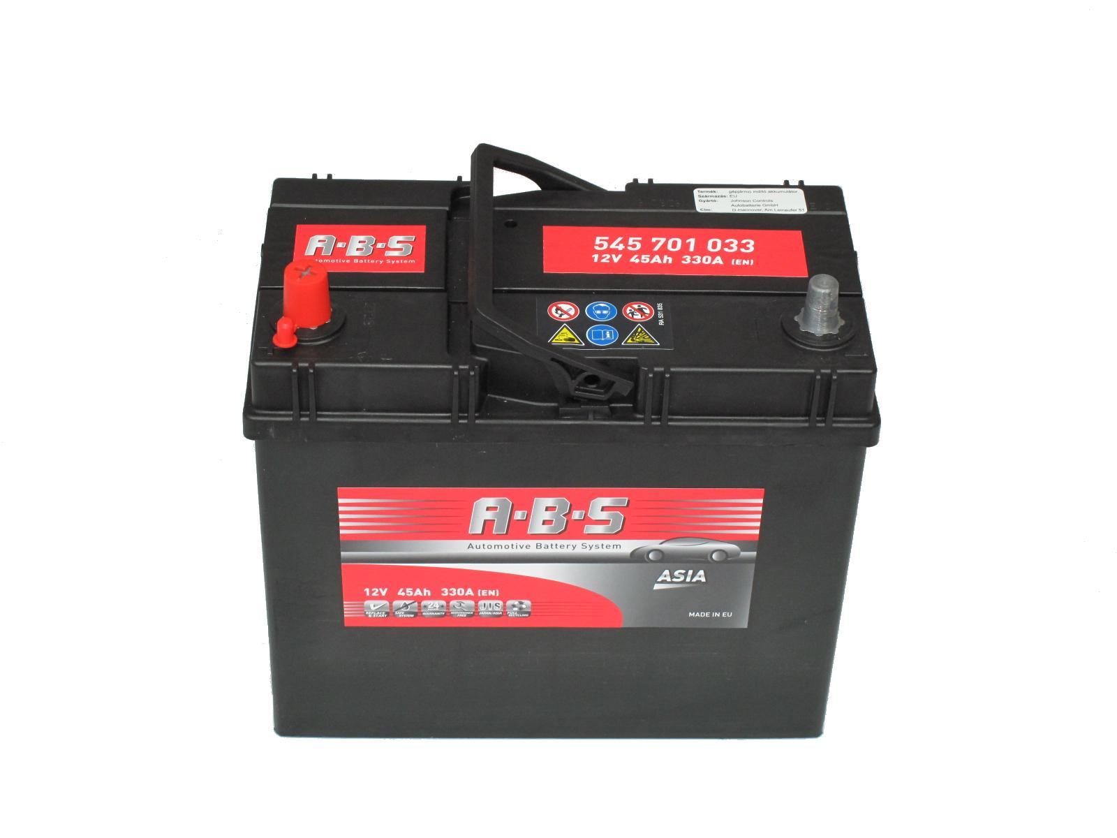 ABS Abs ASIA - 12v 45ah - autó akkumulátor - bal+ *ázsia *vékonysarus