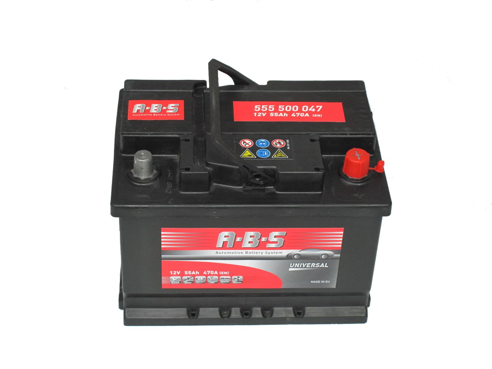 ABS Abs Universal - 12v 55ah - autó akkumulátor - jobb+ *alacsony