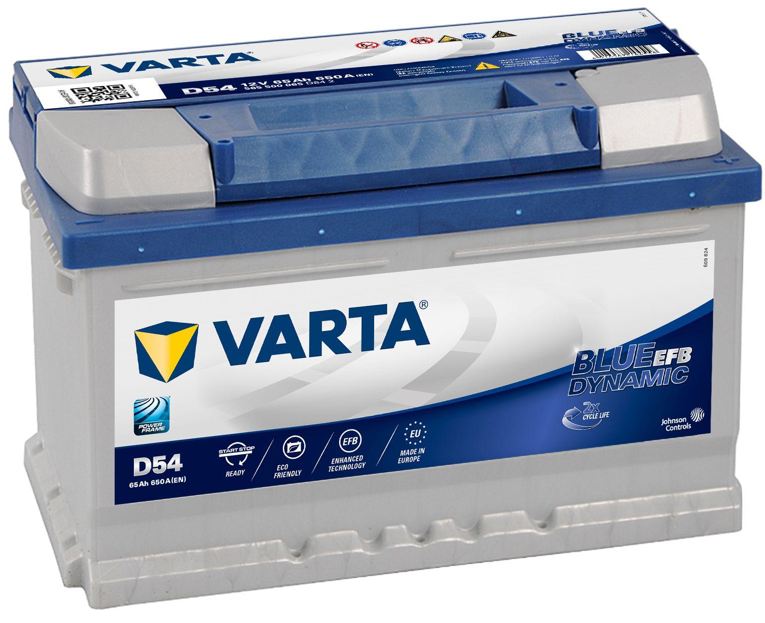 VARTA Varta Blue Dynamic EFB - 12v 65ah - autó akkumulátor - jobb+