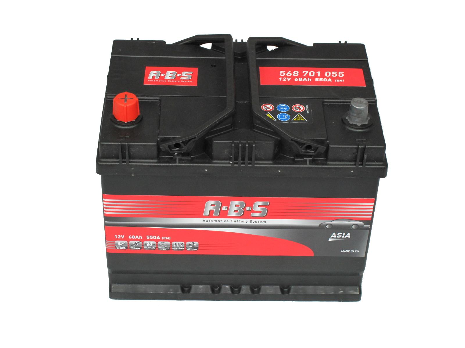 ABS Abs ASIA - 12v 68ah - autó akkumulátor - bal+  *ázsia