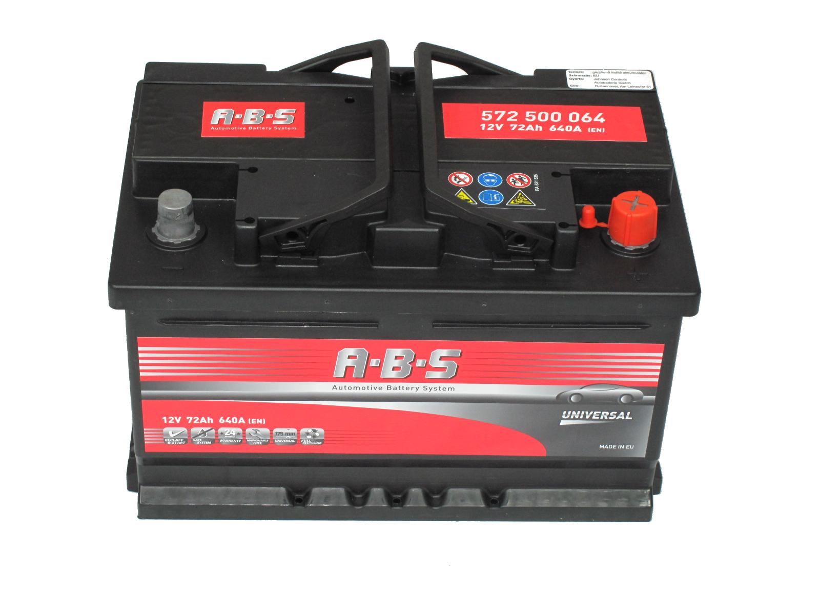 ABS Abs Universal - 12v 72ah - autó akkumulátor - jobb+ *alacsony
