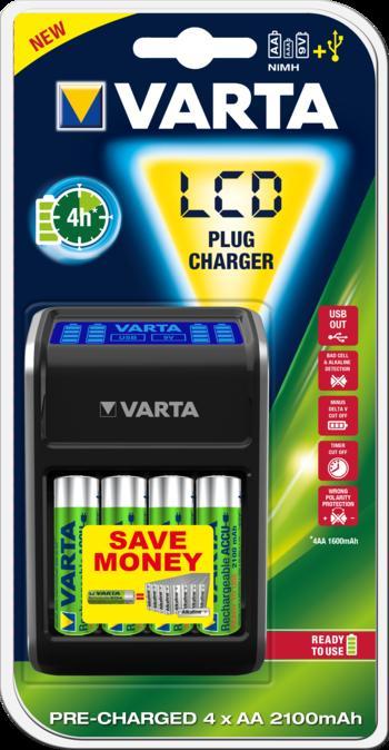 VARTA Elem akkumulátor töltő - LCD  Plug Charger + 4db 2100mAh AA