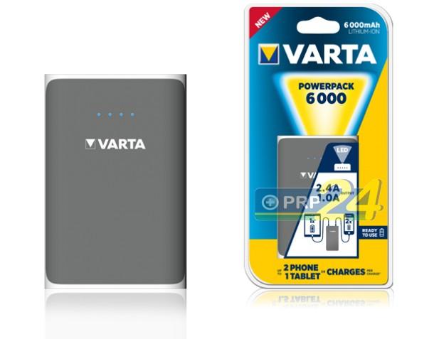 VARTA Powerbank, hordozható energiaforrás, 6000 mAh, szürke