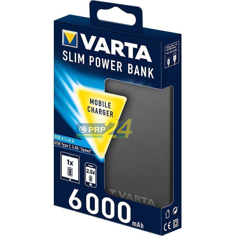 VARTA Powerbank Slim, hordozható energiaforrás, 6000 mAh, sötétszürke vékonyított kivitel