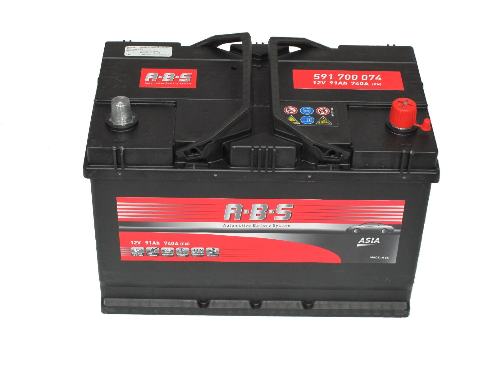 ABS Abs ASIA - 12v 91ah - autó akkumulátor - jobb+ *ázsia