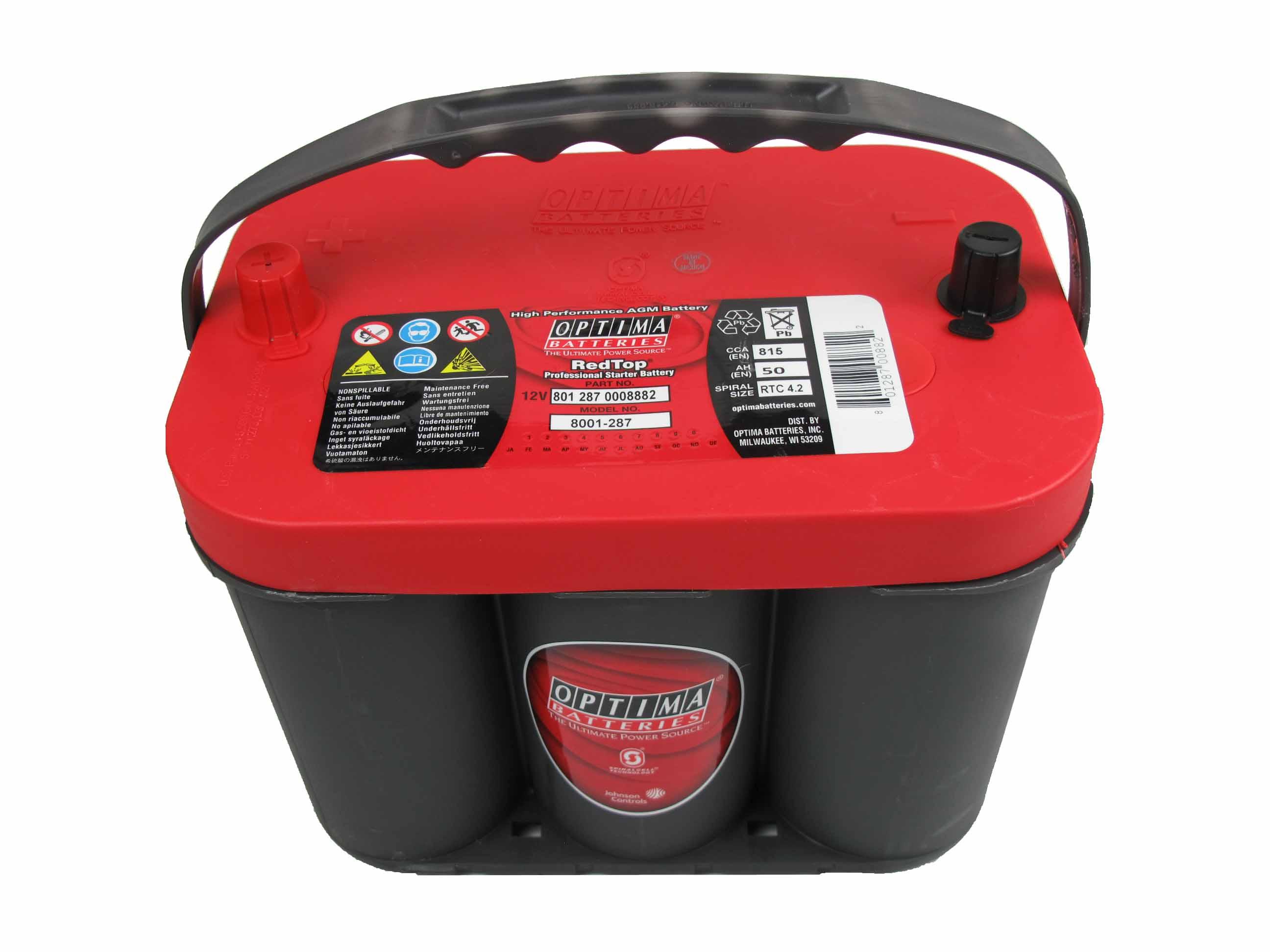 OPTIMA Optima Red - 12v 50ah - autó akkumulátor - közép *C - 4,2