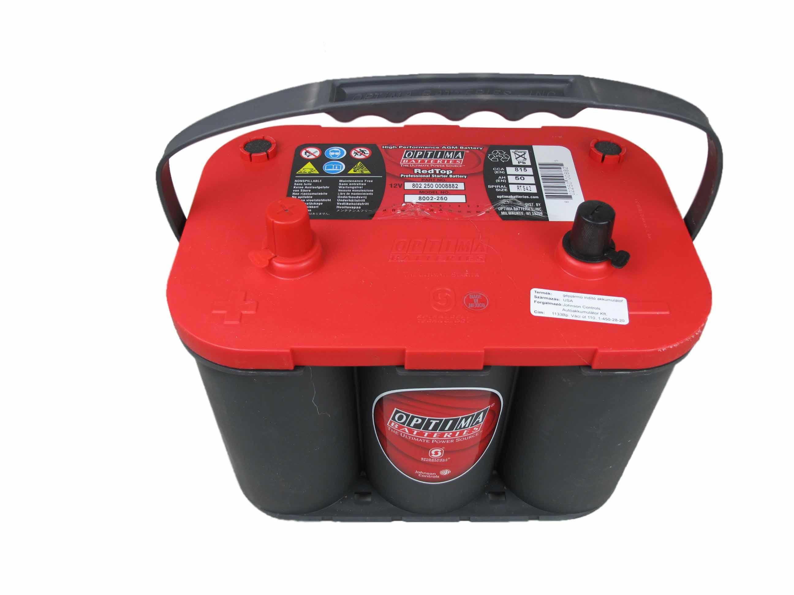 OPTIMA Optima Red - 12v 50ah - autó akkumulátor - bal+ *S - 4,2