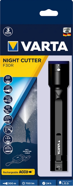 VARTA Elemlámpa - 10W LED Night Cutter F30R + USB kábel