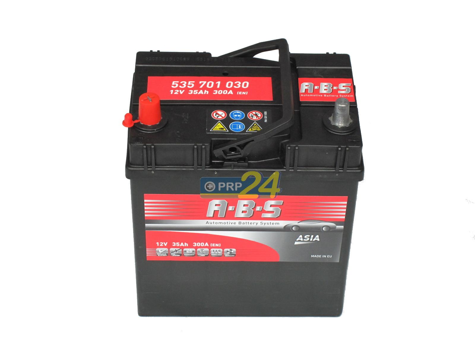 ABS Abs ASIA - 12v 35ah - autó akkumulátor - bal+ *ázsia*vékonysarus