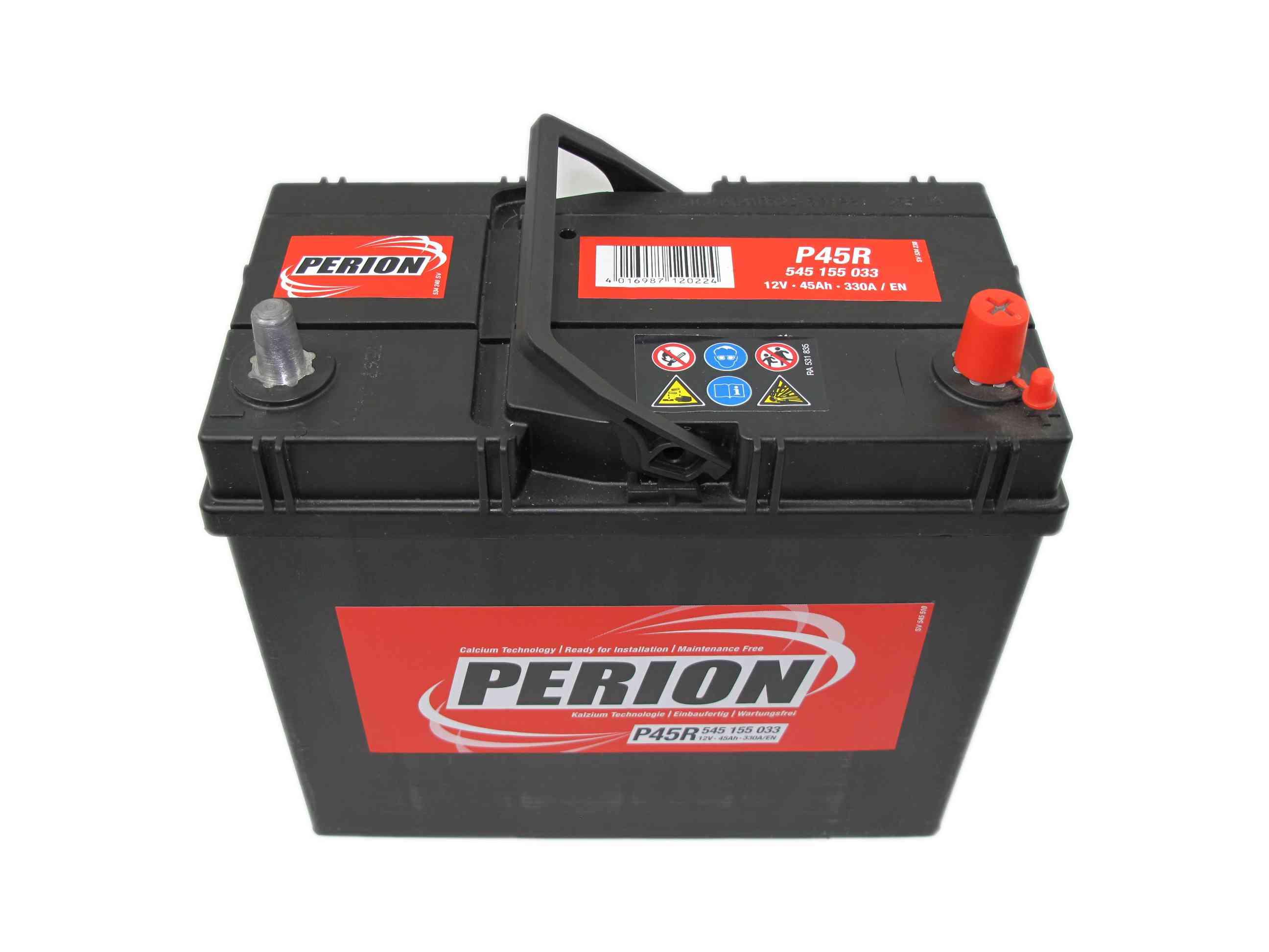 PERION Perion - 12v 45ah - autó akkumulátor - jobb+ *ázsia *vékonysarus