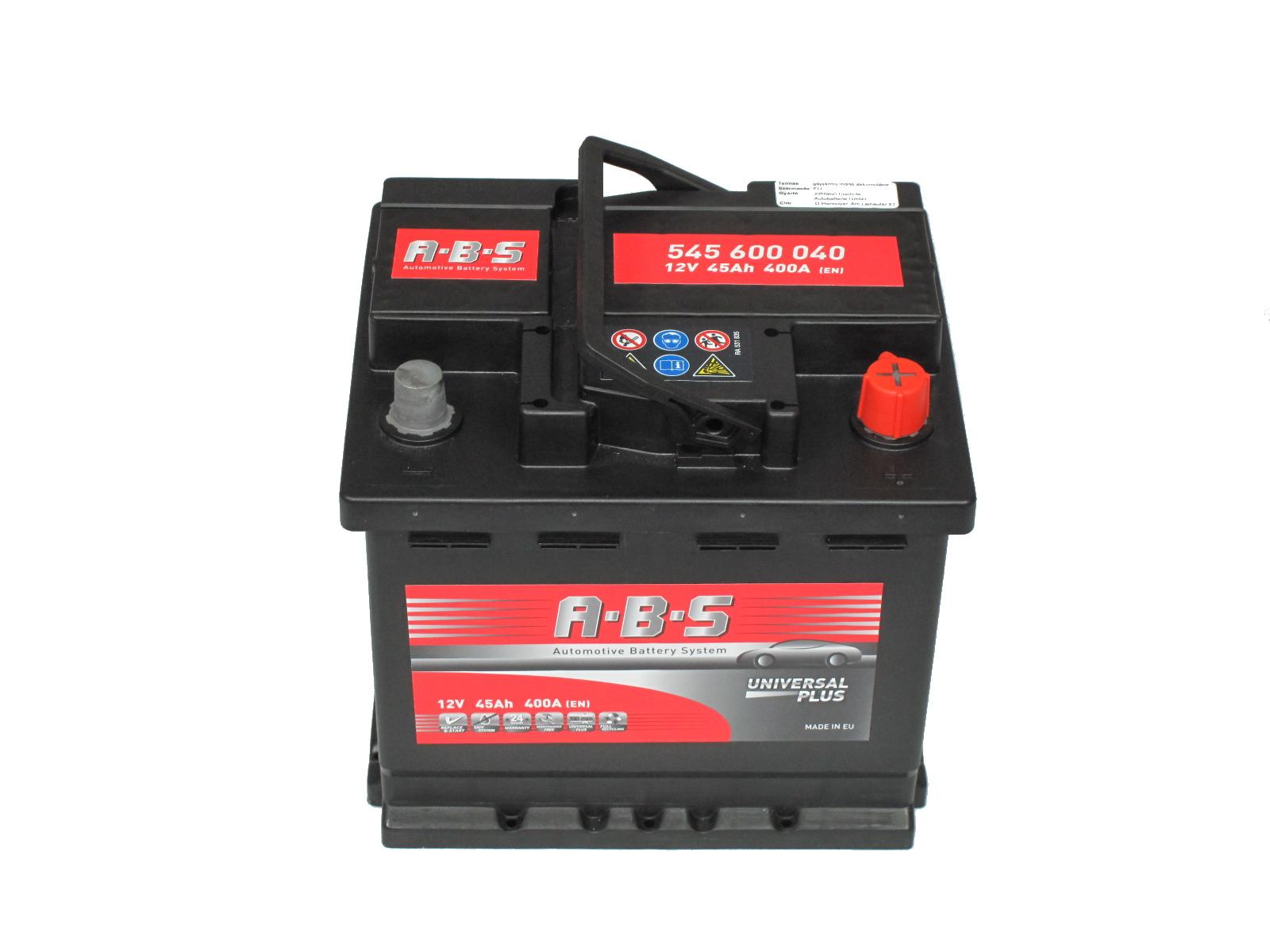 ABS Abs Universal Plus - 12v 45ah - autó akkumulátor - jobb+