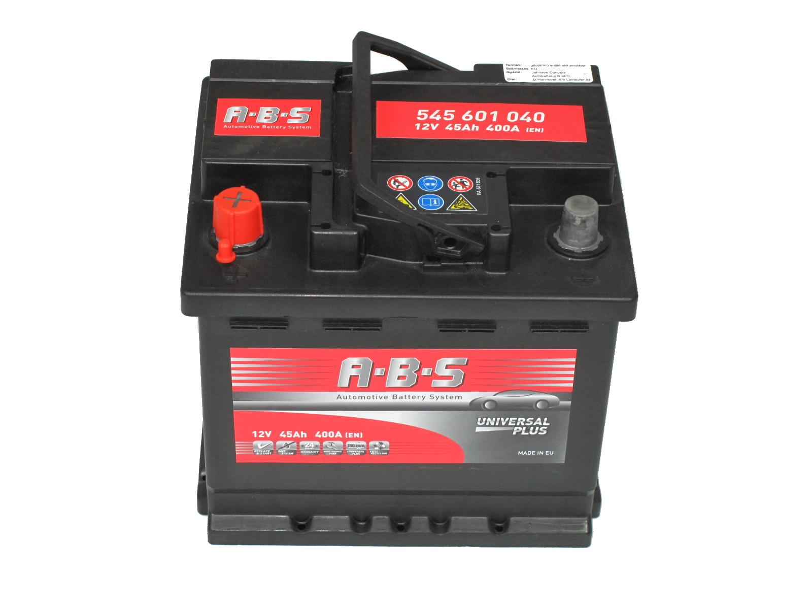 ABS Abs Universal Plus - 12v 45ah - autó akkumulátor - bal+