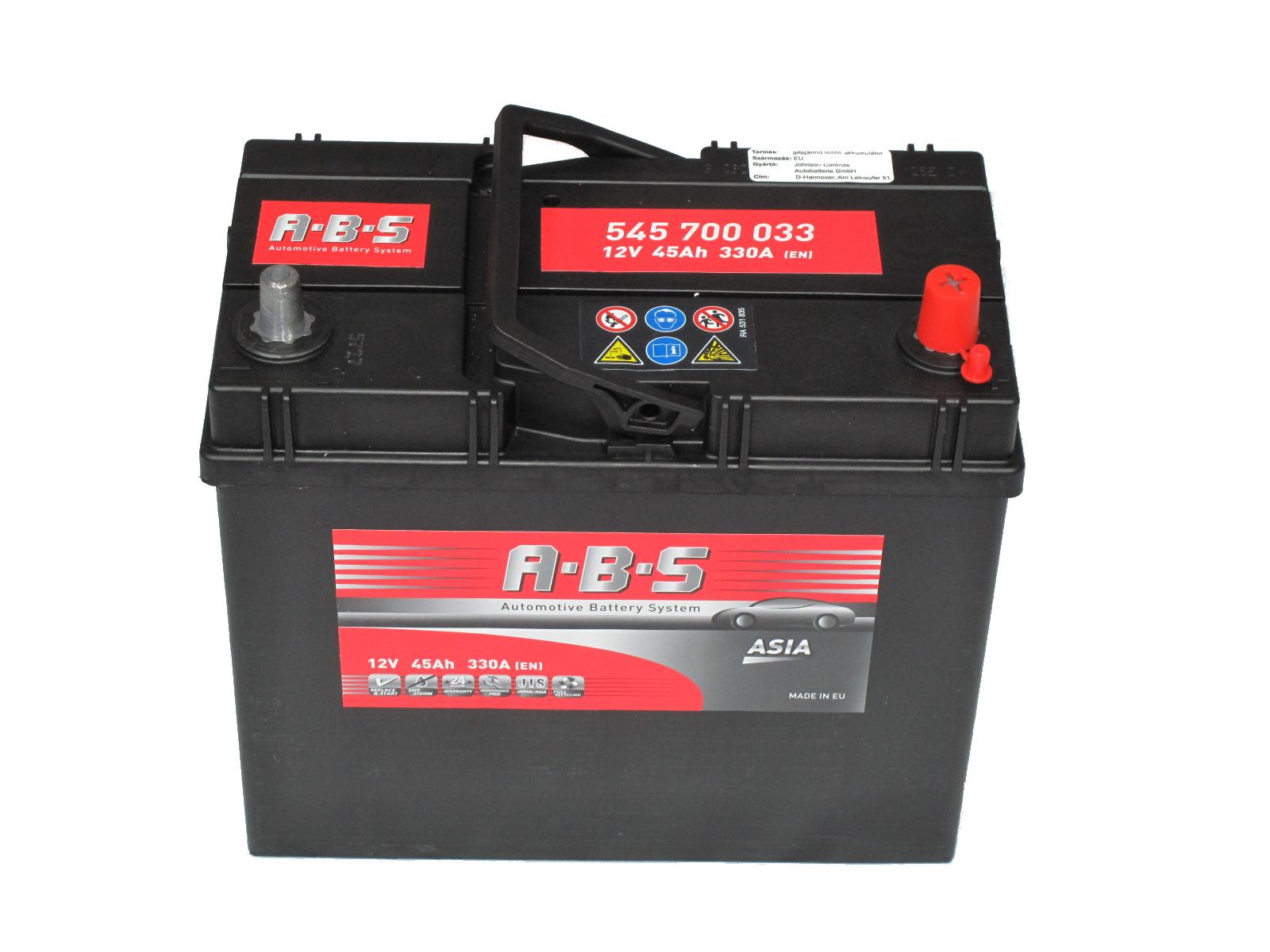 ABS Abs ASIA - 12v 45ah - autó akkumulátor - jobb+ *ázsia *vékonysarus