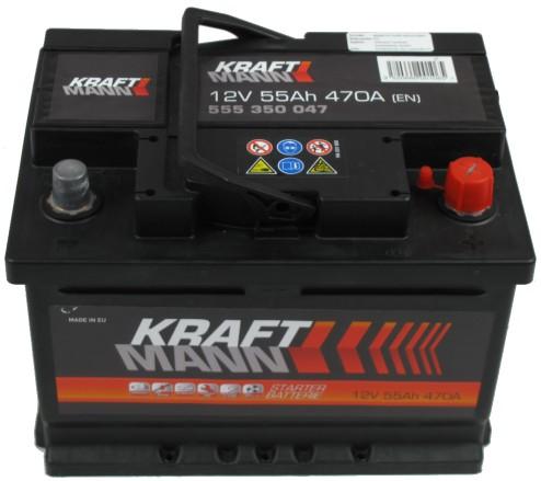 Kraftmann Kraftmann - 12v 55ah - autó akkumulátor - jobb+ *alacsony