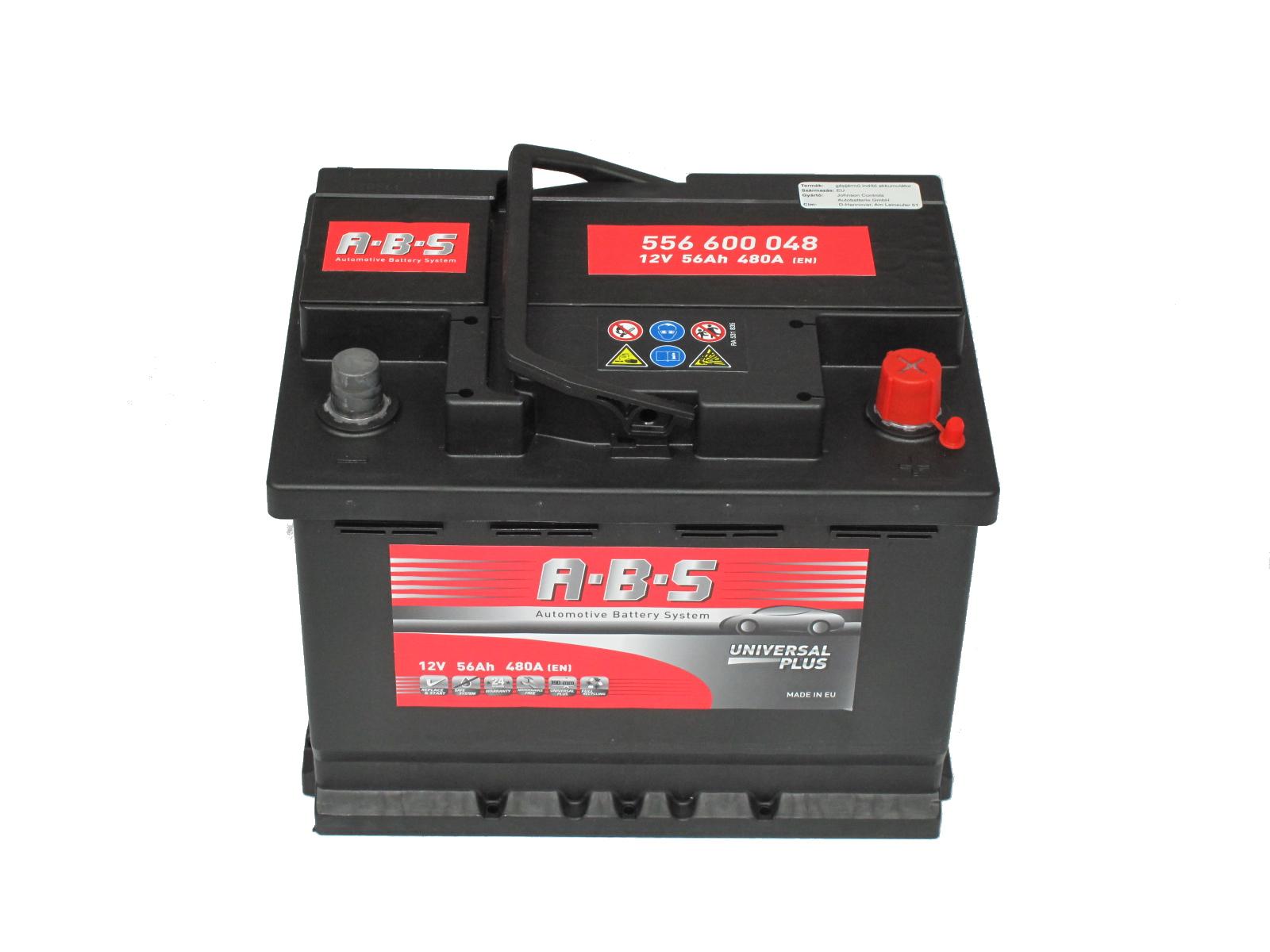ABS Abs Universal Plus - 12v 56ah - autó akkumulátor - jobb+