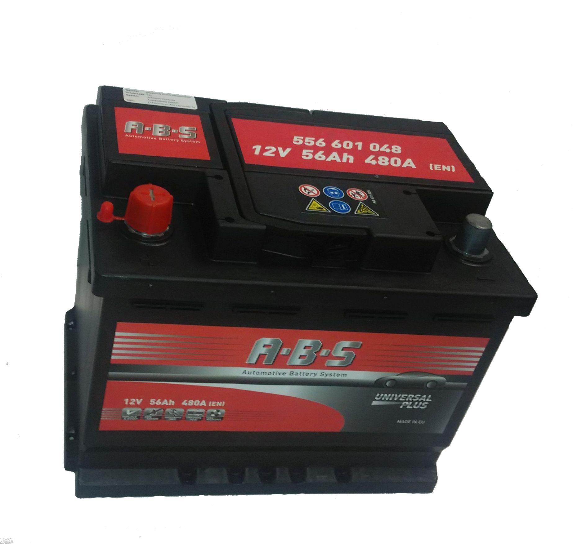 ABS Abs Universal Plus - 12v 56ah - autó akkumulátor - bal+