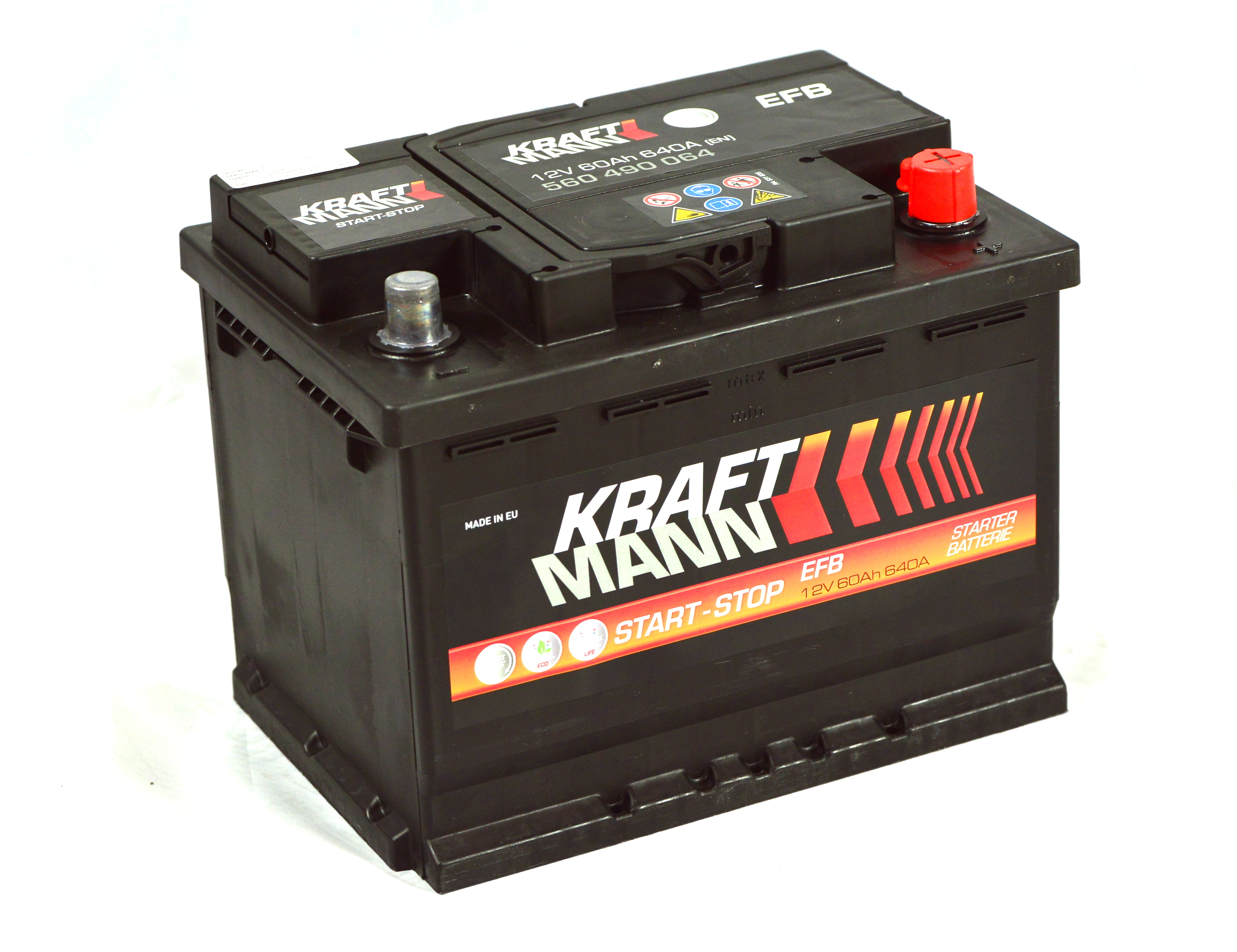 n/a Kraftmann EFB - 12v 60ah - autó akkumulátor - jobb+