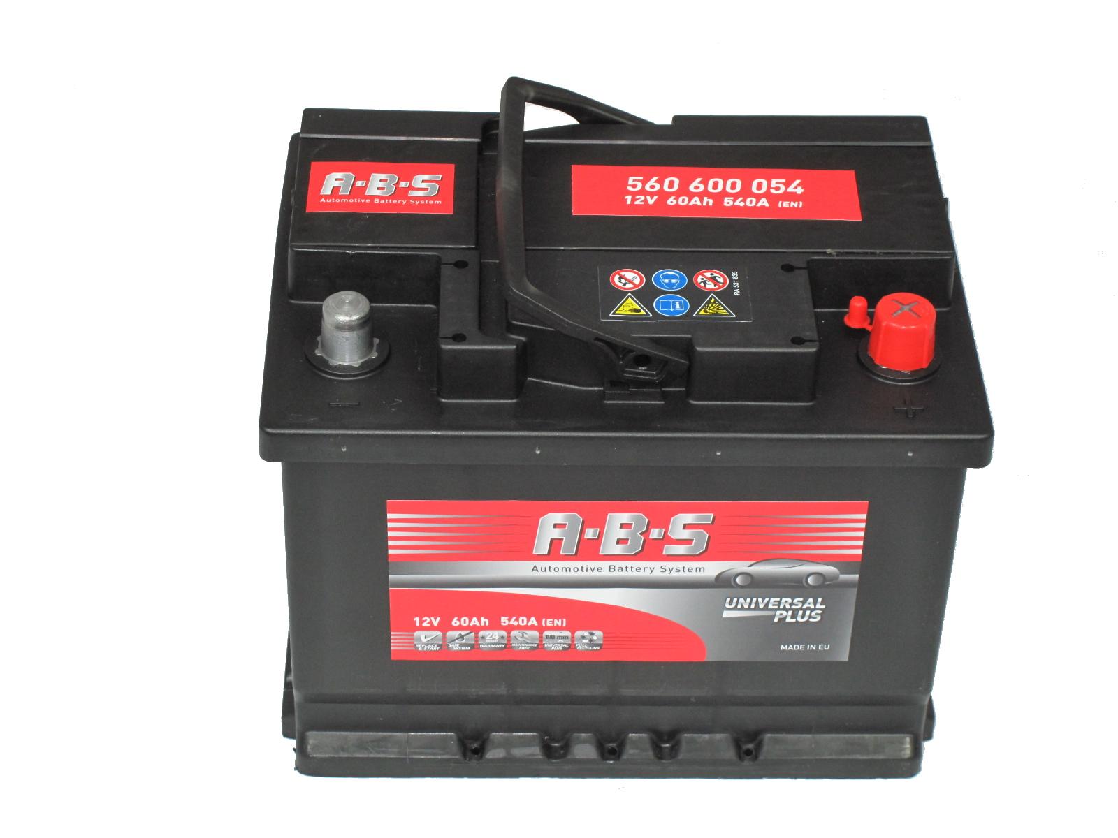 ABS Abs Universal Plus - 12v 60ah - autó akkumulátor - jobb+
