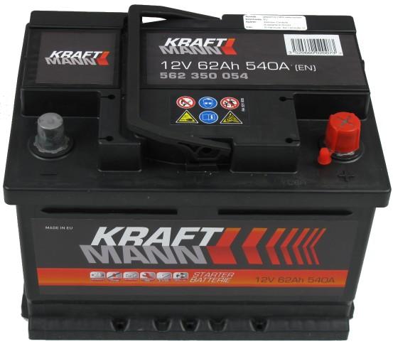 Kraftmann Kraftmann - 12v 62ah - autó akkumulátor - jobb+ *alacsony