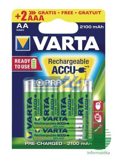 VARTA Elem akkumulátor AA 2100mAh 4 + 2 db 800 mAh AAA Ready2use