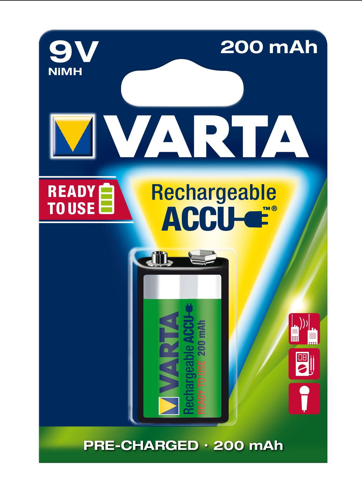 VARTA Elem akkumulátor 9V 200mAh Ready to Use