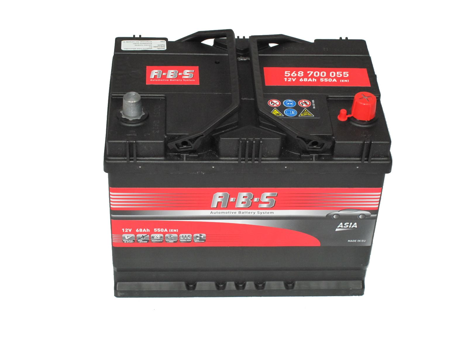ABS Abs ASIA - 12v 68ah - autó akkumulátor - jobb+ *ázsia