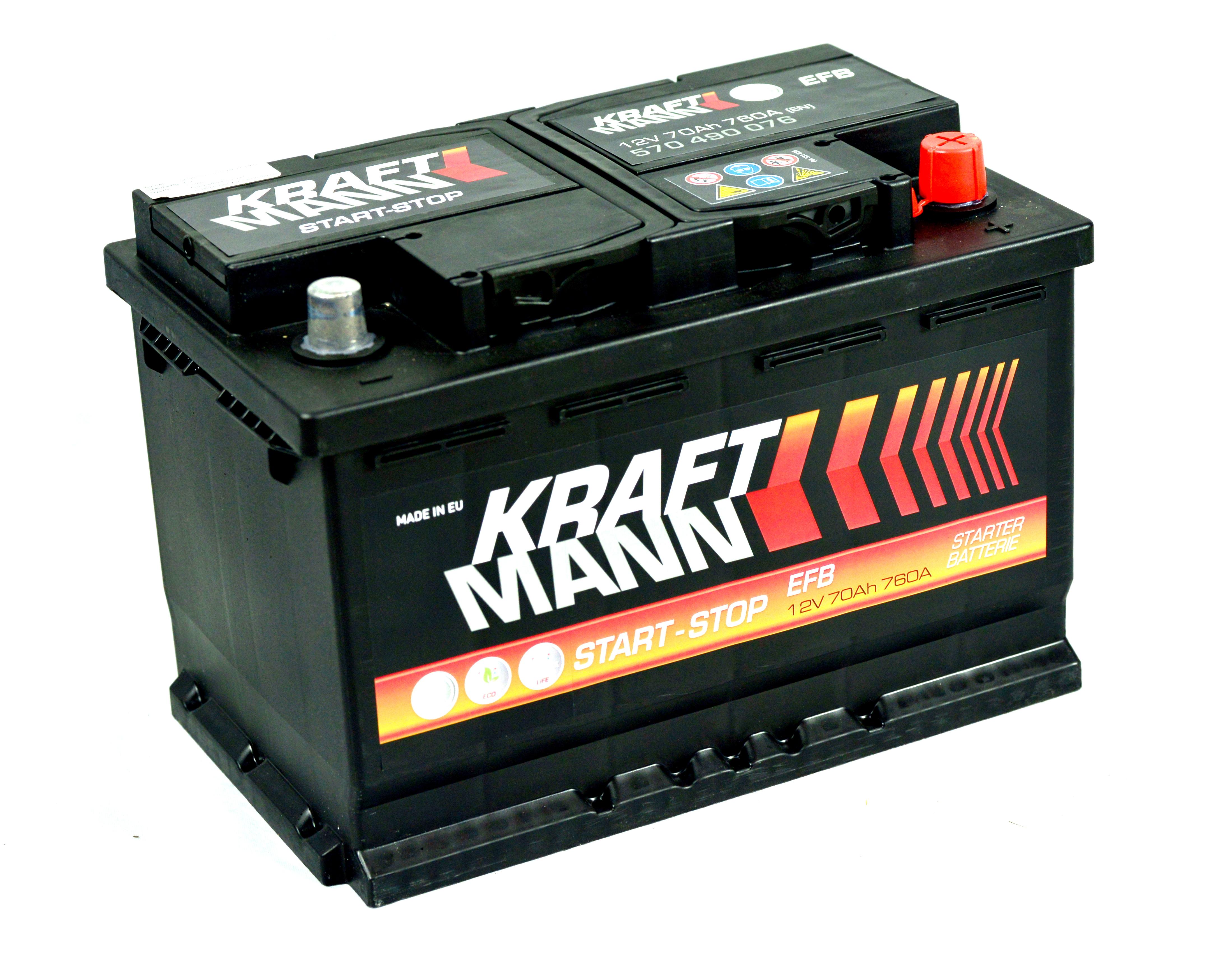 n/a Kraftmann EFB - 12v 70ah - autó akkumulátor - jobb+