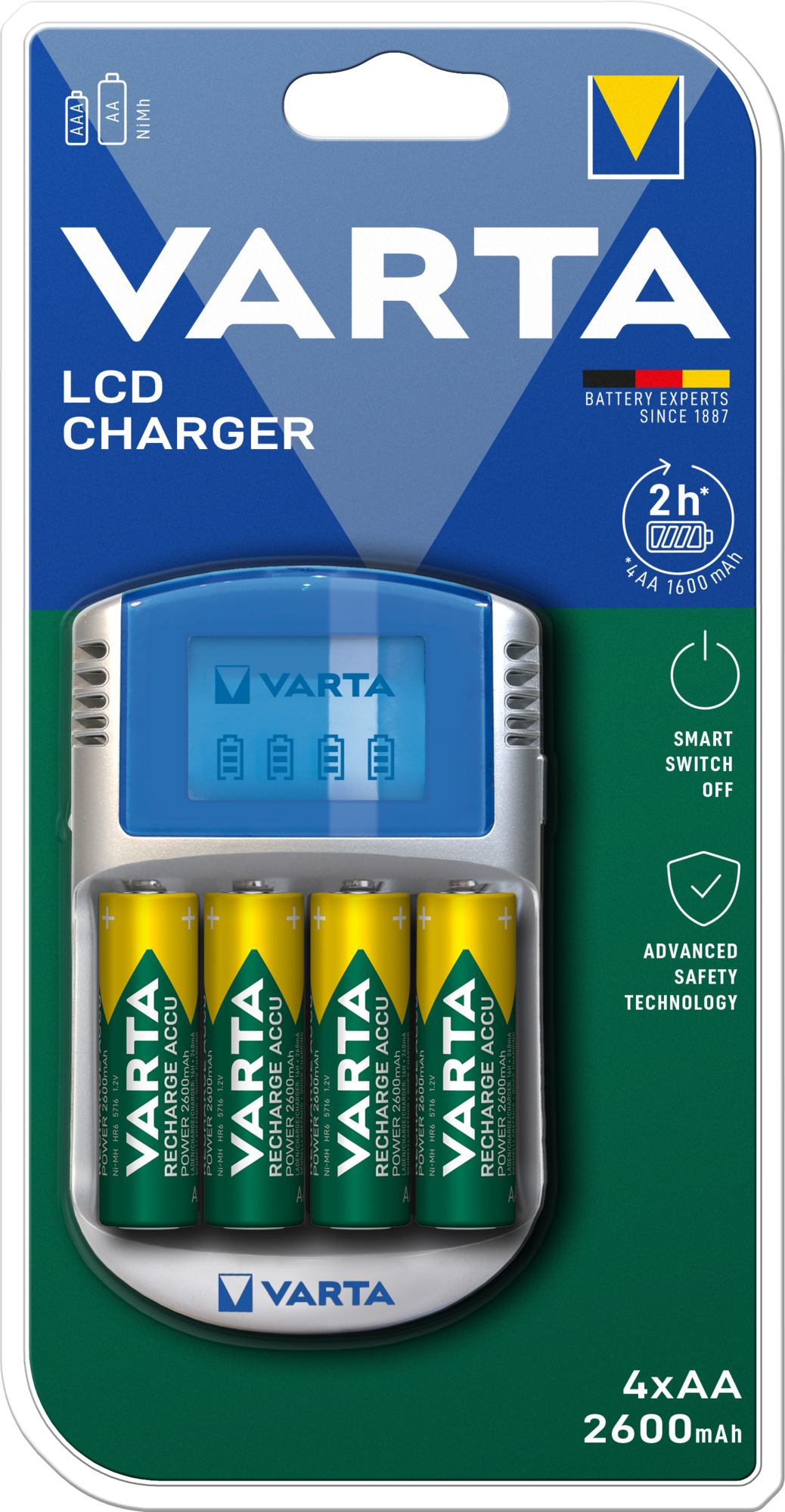 VARTA Elem akkumulátor töltő - LCD + AA 2600mAh x4 + 12 V adapter + USB kábel