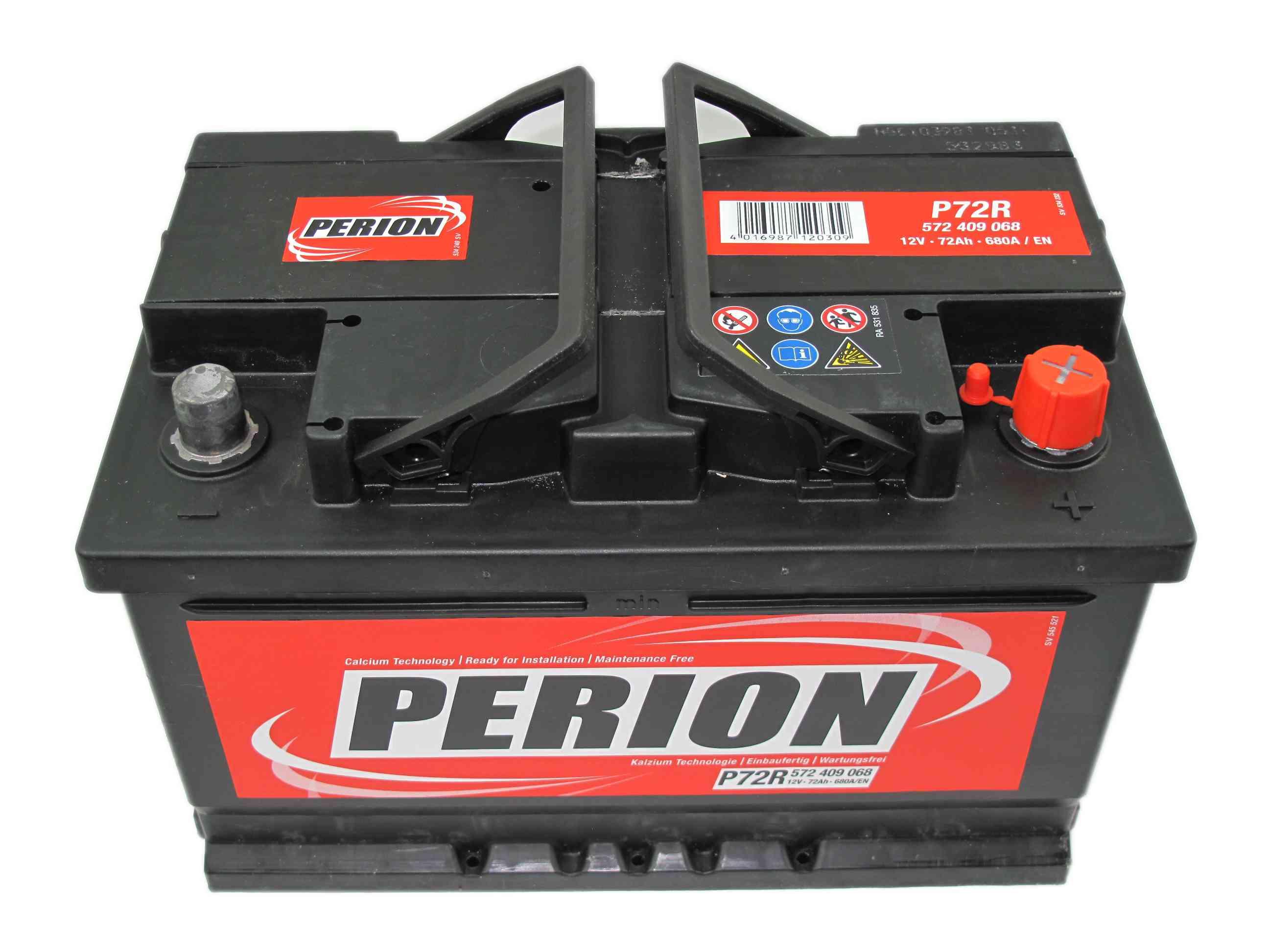 PERION Perion - 12v 72ah - autó akkumulátor - jobb+ *alacsony