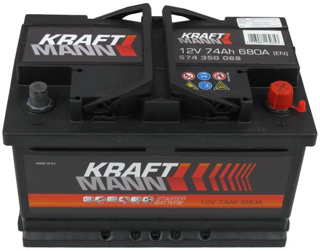 Kraftmann Kraftmann - 12v 74ah - autó akkumulátor - jobb+ *alacsony