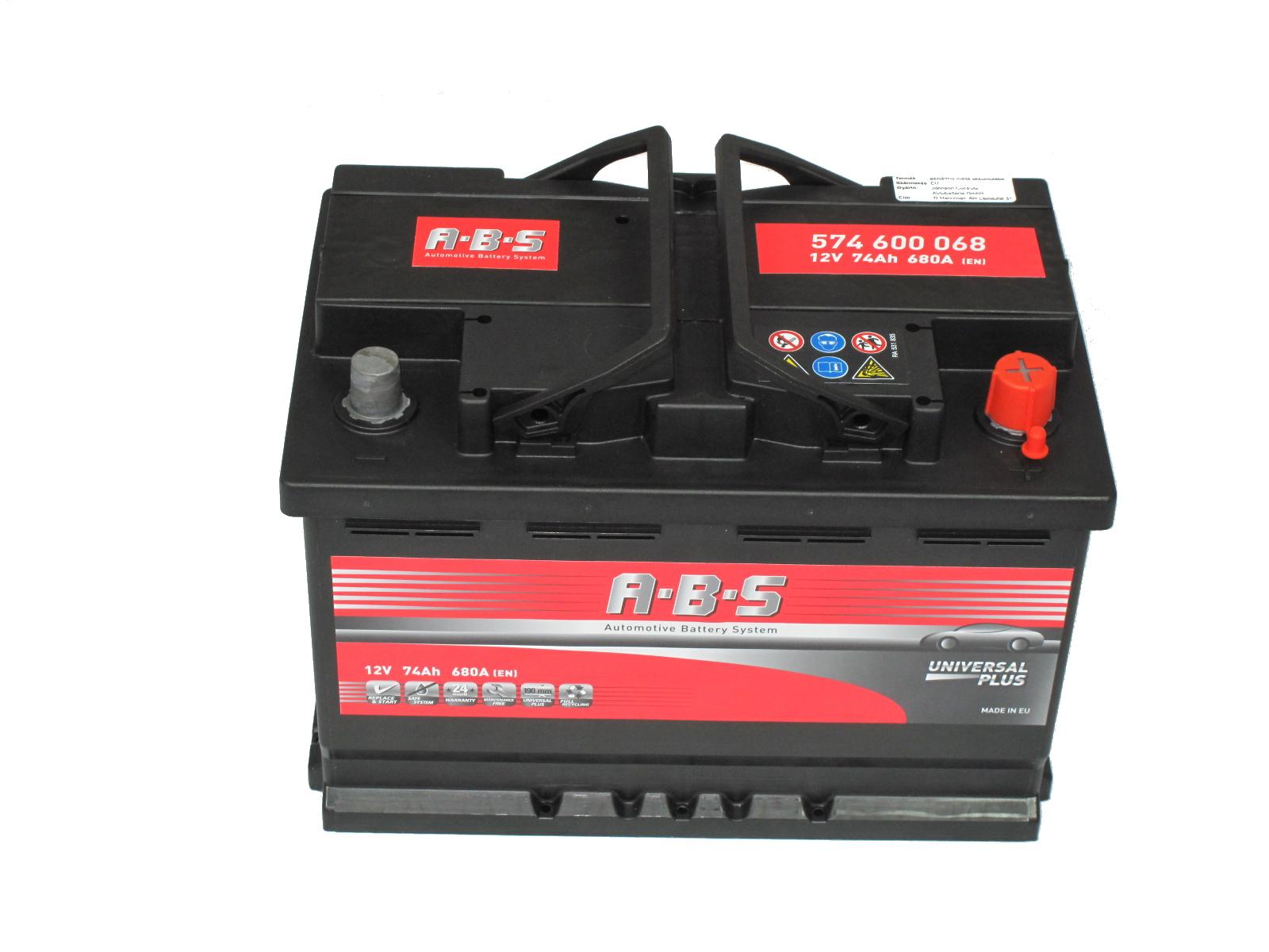 ABS Abs Universal Plus - 12v 74ah - autó akkumulátor - jobb+