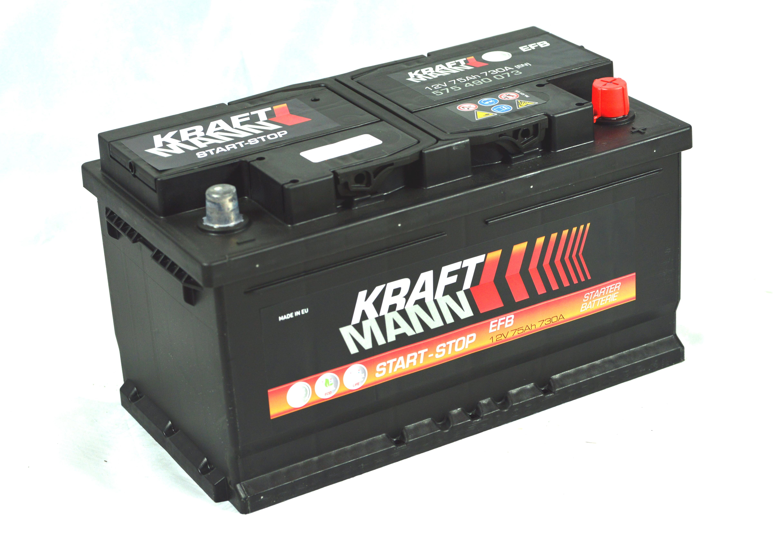 n/a Kraftmann EFB - 12v 75ah - autó akkumulátor - jobb+