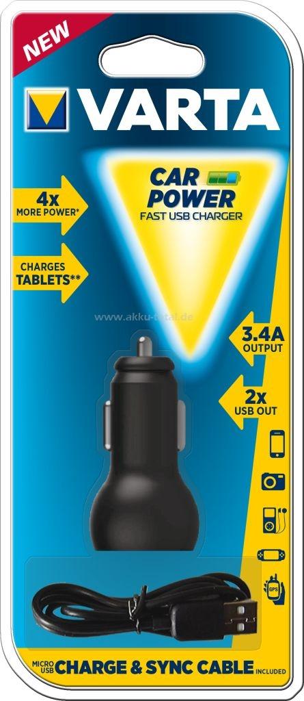 VARTA Autós töltő - 2db USB kimenettel + MicroUSB kábellel