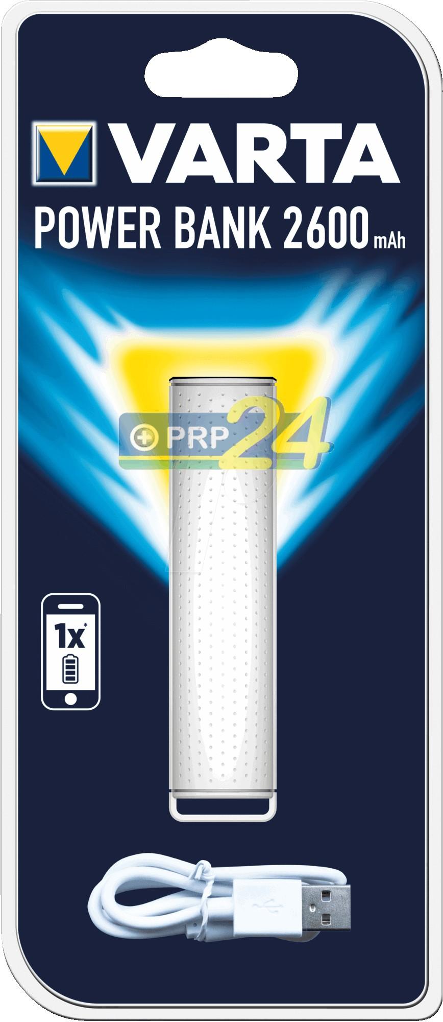 VARTA Powerbank, hordozható energiaforrás 2600 mAh, fehér