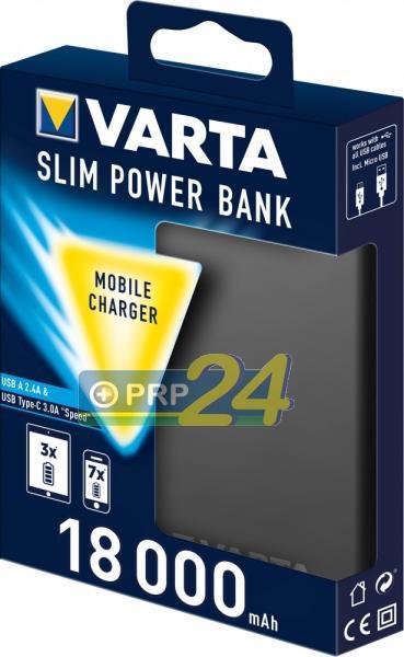VARTA Powerbank Slim, hordozható energiaforrás, 18000 mAh, sötétszürke vékonyított kivitel