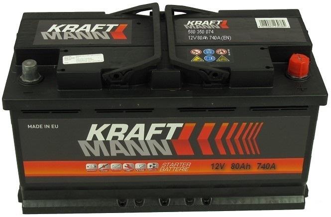 Kraftmann Kraftmann - 12v 80ah - autó akkumulátor - jobb+ *alacsony