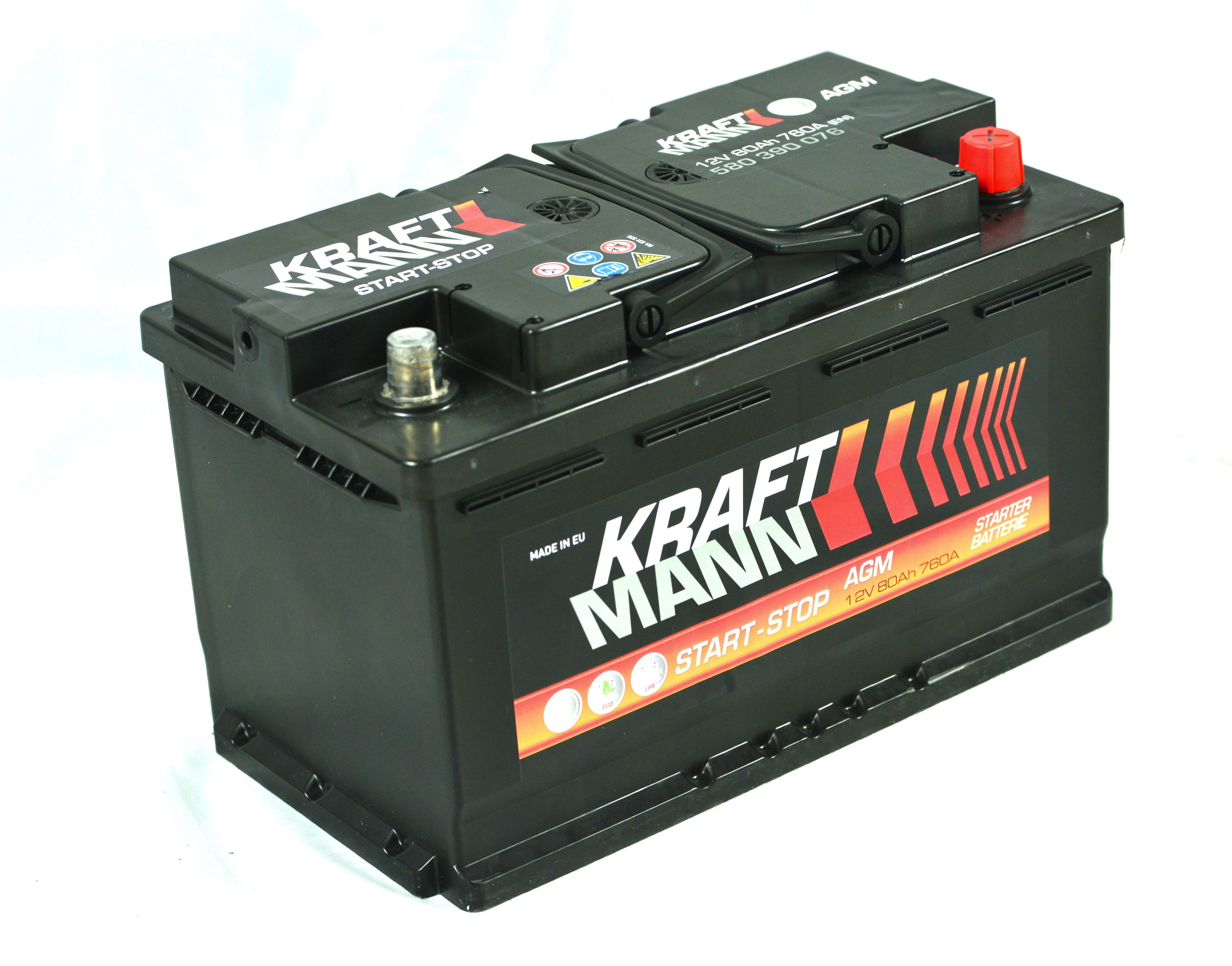 n/a Kraftmann AGM - 12v 80ah - autó akkumulátor - jobb+