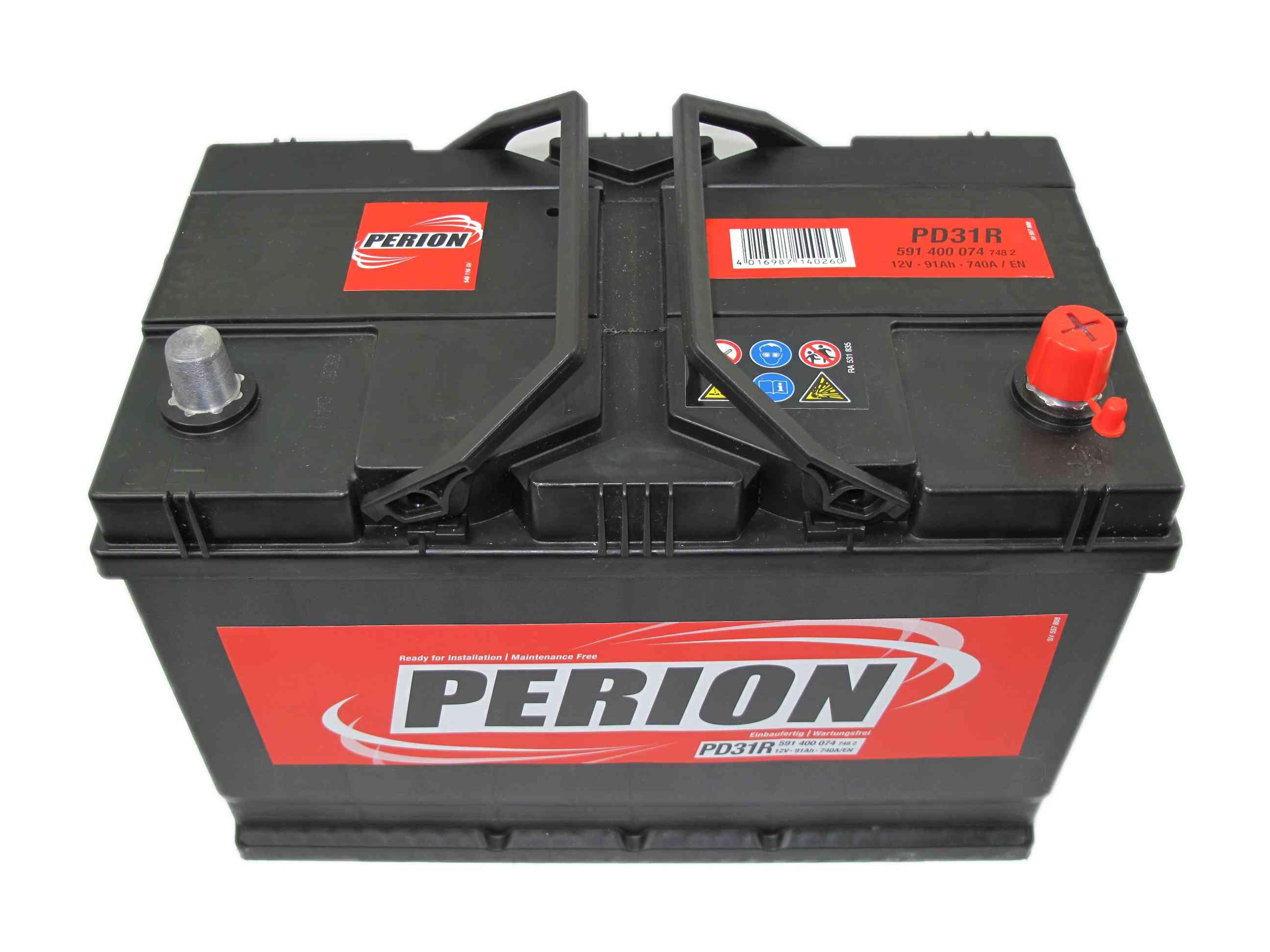 PERION Perion - 12v 91ah - autó akkumulátor - jobb+ *ázsia