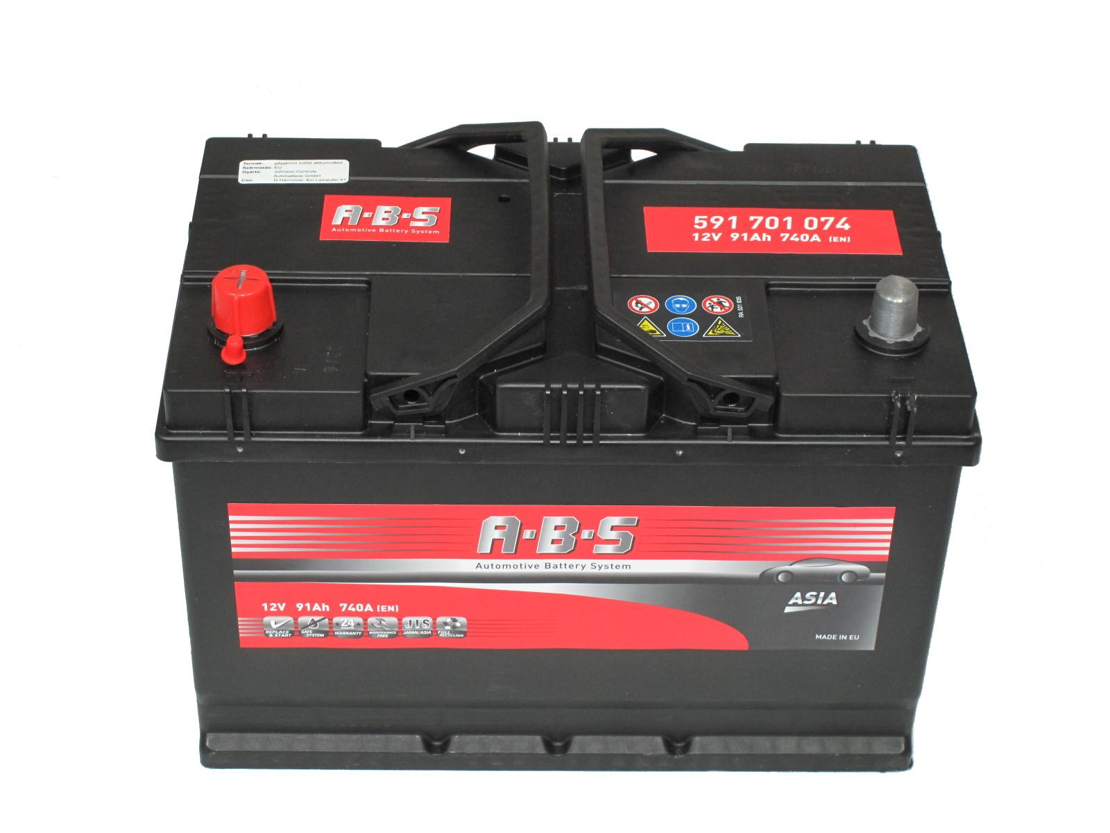 ABS Abs ASIA - 12v 91ah - autó akkumulátor - bal+ *ázsia