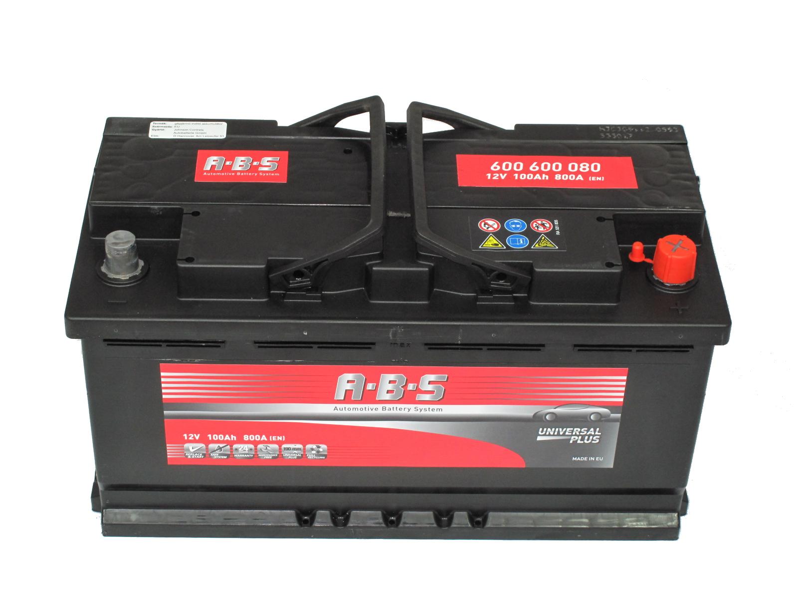 ABS Abs Universal Plus - 12v 100ah - autó akkumulátor - jobb+