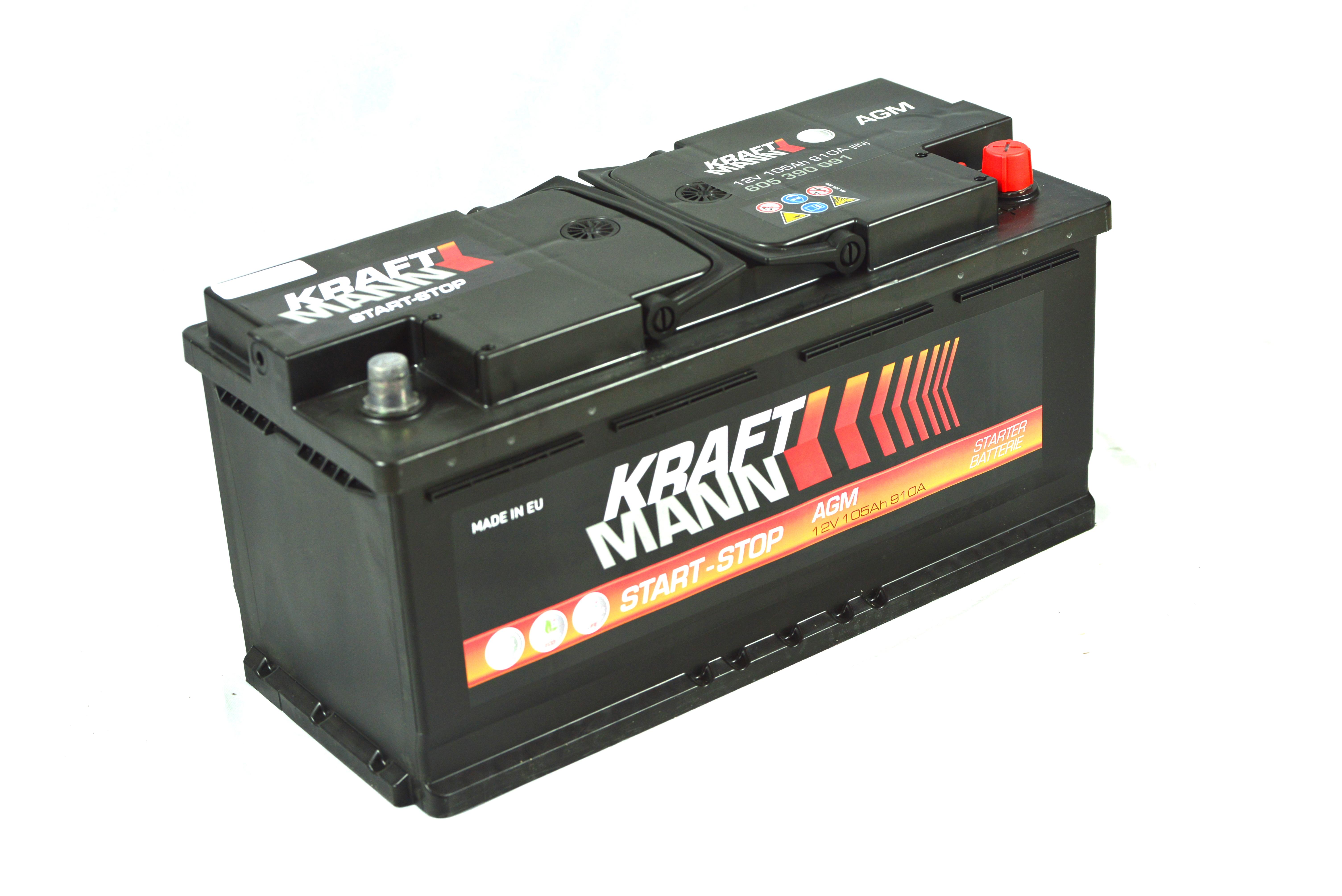 n/a Kraftmann AGM - 12v 105ah - autó akkumulátor - jobb+