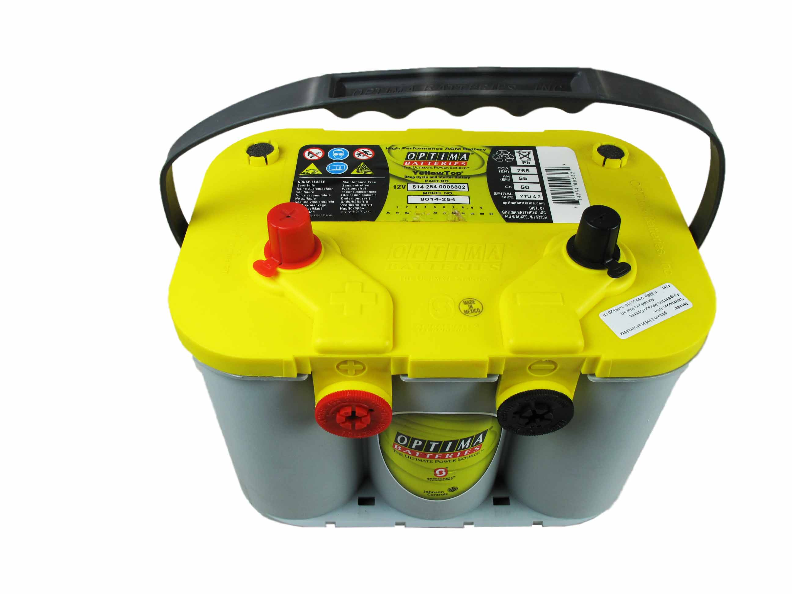 OPTIMA Optima Yellow - 12v 55ah - autó akkumulátor - bal+ * oldalcsavaros *U - 4,2