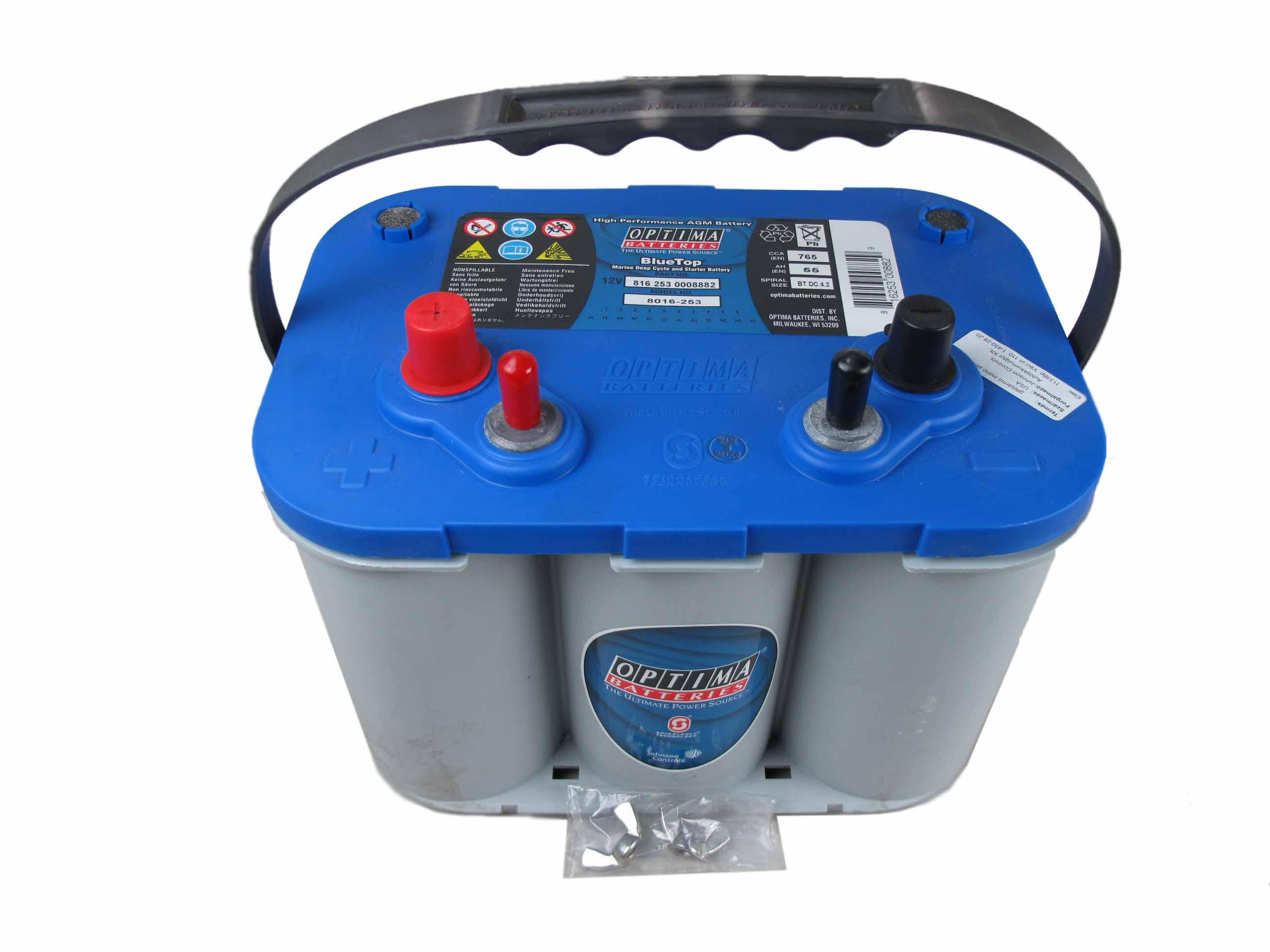 OPTIMA Optima Blue - 12v 55ah - autó akkumulátor - bal+ * csavaros *DC - 4,2