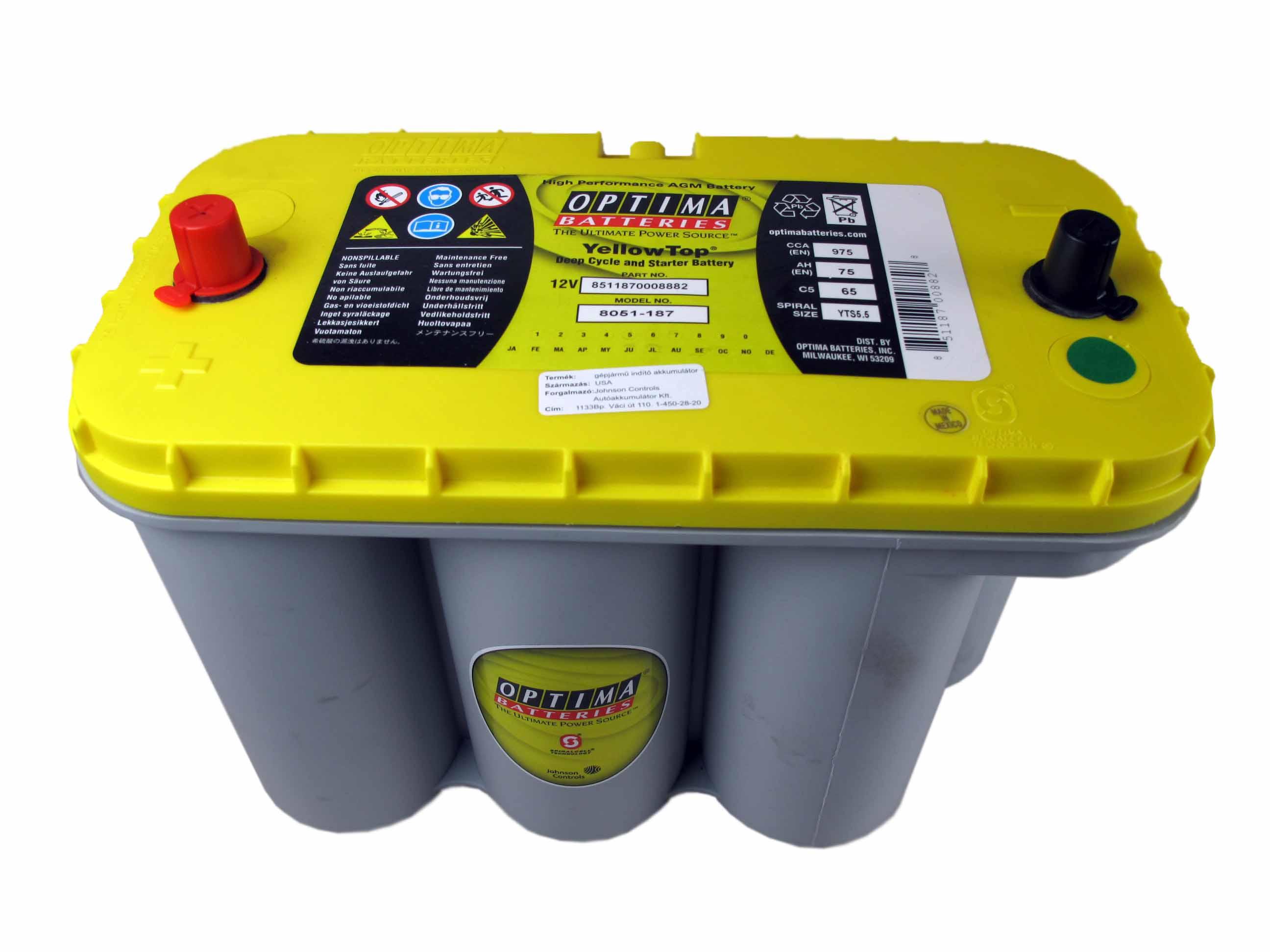 OPTIMA Optima Yellow - 12v 75ah - autó akkumulátor - közép *S - 5,5