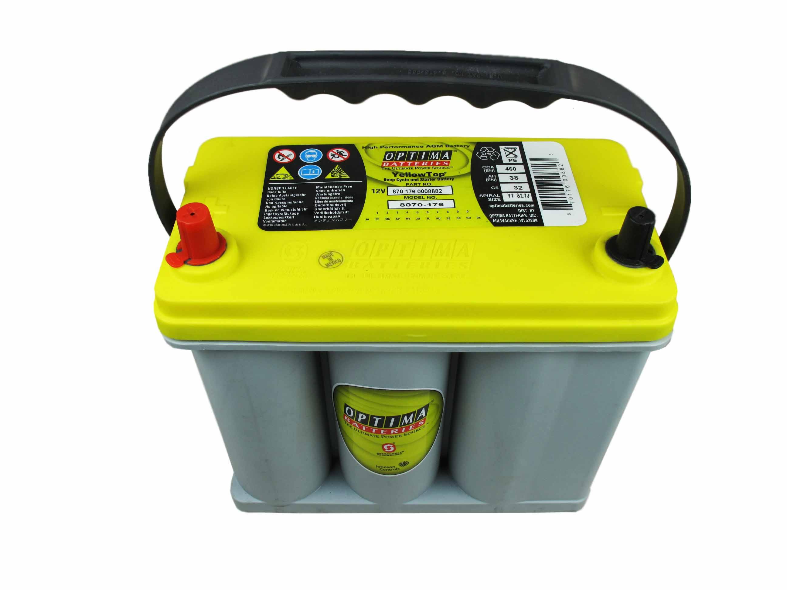 OPTIMA Optima Yellow - 12v 38ah - autó akkumulátor - bal+ *ázsia *S - 2,7J