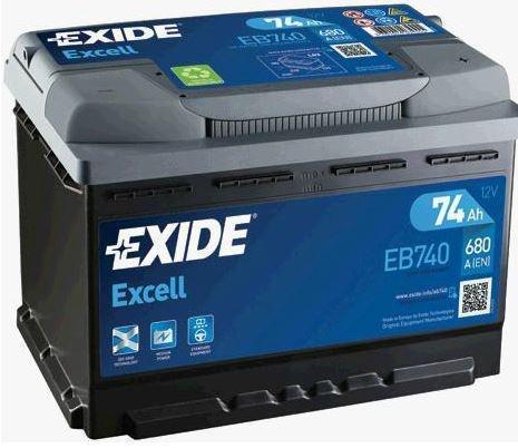 n/a EXIDE Excell 12V 74Ah 680A jobb+ autó akkumulátor